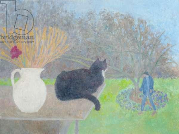 Lulu, Jug and Apple Tree, 1995 (circa) (painting)