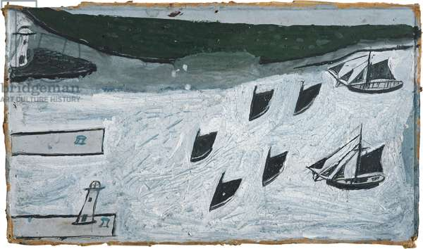 Seven boats entering harbour, 1925-28 (painting)