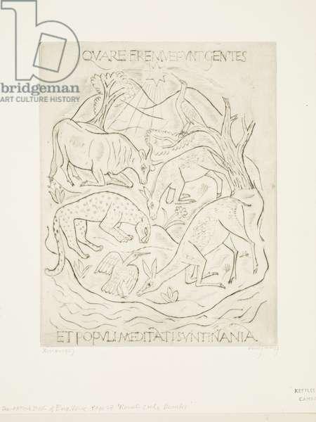 Kneeling Animals (ox, ass, leopard, deer and two birds), 1927 (print)