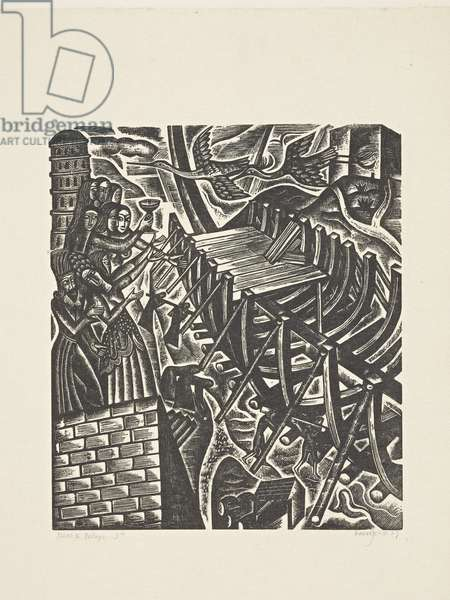 The Deluge (3): The Mockers and the Building of the Ark, 1927 (print)