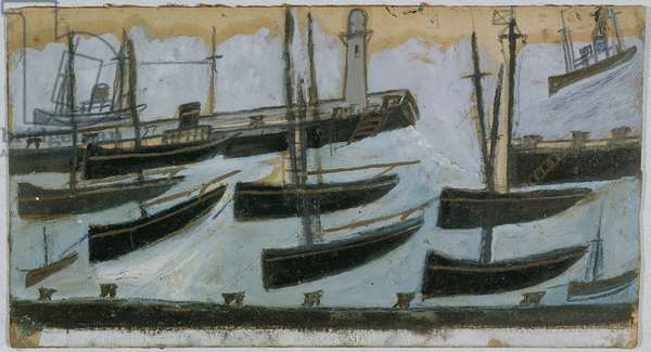 Nine Ships in Harbour (oil on card)