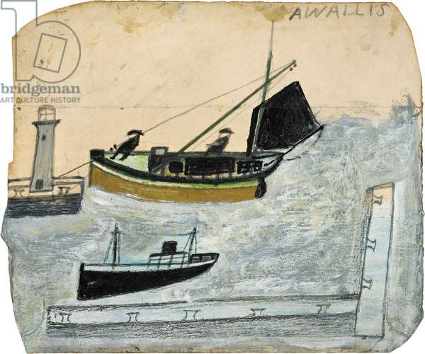 Two fishermen in their boat with one mast stepped, n.d. (painting)