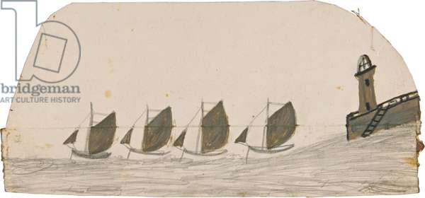 Four sailing boats leaving pier with lighthouse, n.d. (painting)