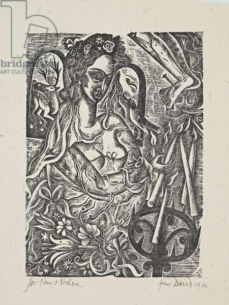 Bride, 1930 (wood engraving)