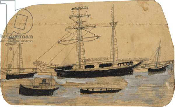 Five ships in port with lighthouse, n.d. (painting)