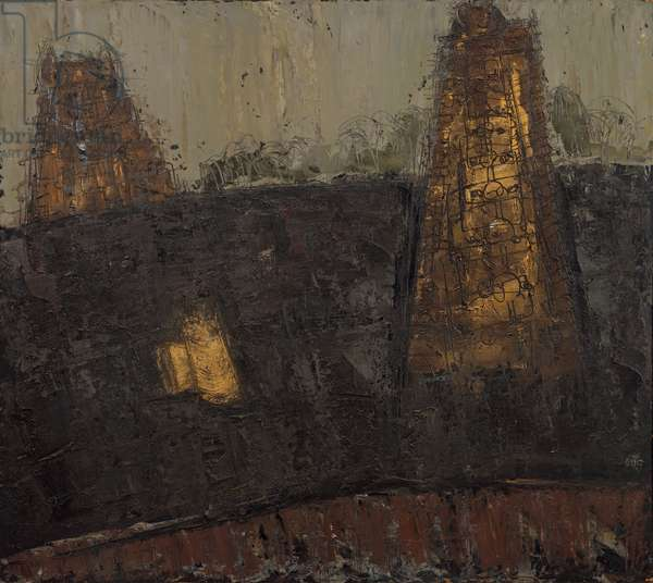 India - Temples no. 1 (Sri Ranganathaswamy Temple, Tiruchirapalli), 1954 (February) (painting)