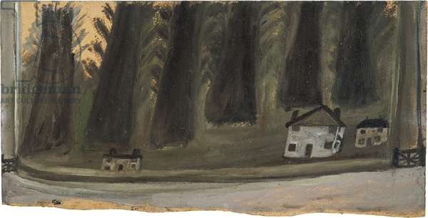 Houses and big trees, n.d. (painting)