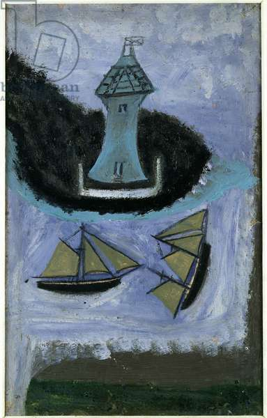 Lighthouse and Two Sailing Ships (oil on card)