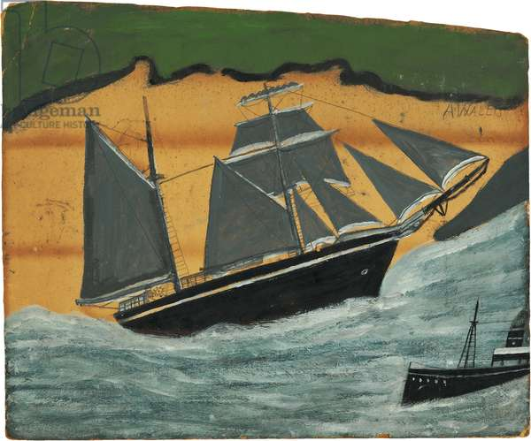 Sailing ship against a sandy beach, n.d. (painting)