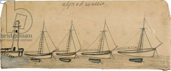 Lighthouse, four moored sailboats and rowing boats, n.d. (painting)
