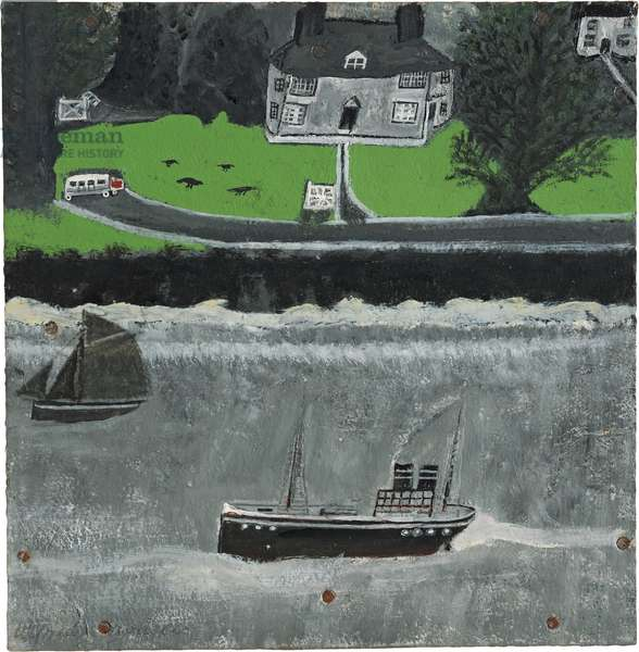 Two boats moving past a big house, 1932-37 (circa) (painting)