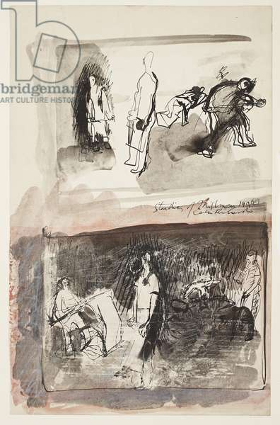 Studies of milkmen, n.d. (drawing)