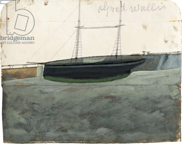 Two-master with green hull-line alongside quay, n.d. (painting)