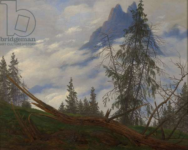 Mountain Peak with Drifting Clouds, c.1835 (oil on canvas)