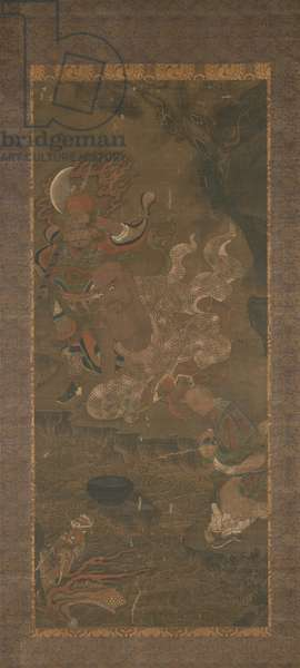 Arhat Taming the Dragon, early 14th century (ink & mineral pigments on silk)