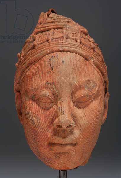 Head, possibly a King (terracotta with residue of red pigment & traces of mica)