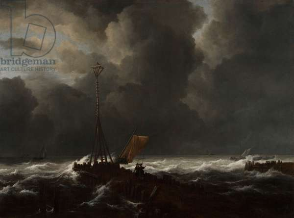 Rough Sea at a Jetty, 1650s (oil on canvas)