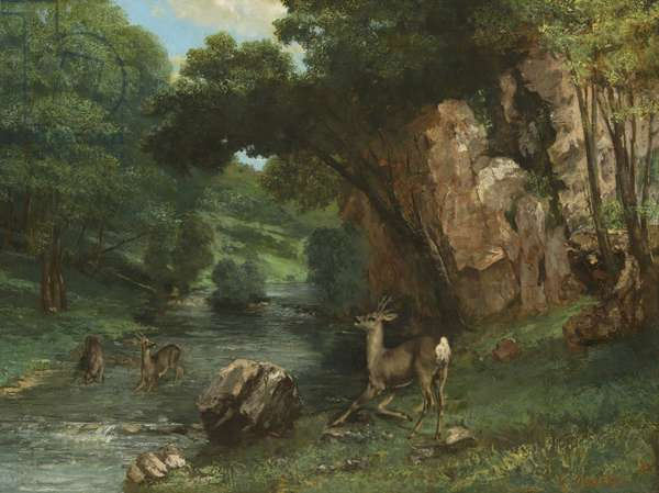 Roe Deer at a Stream, 1868 (oil on canvas)