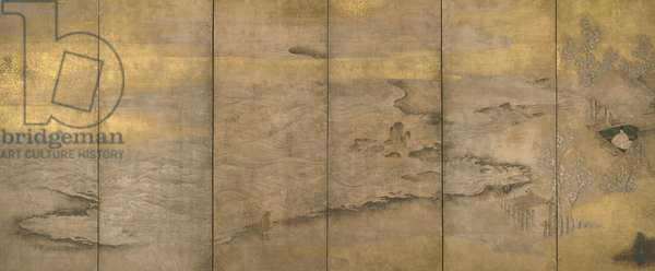 An Exiled Emperor on Okinoshima, c.1600 (screen with ink, gold, silver & pigments on paper)
