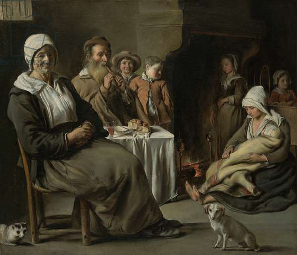 Peasant Interior with an Old Flute Player, c.1642 (oil on canvas)