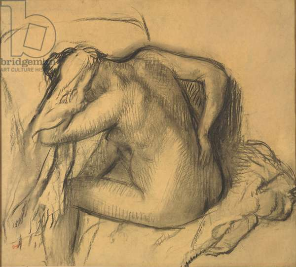 After the Bath, Woman Drying Her Hair, c.1895 (charcoal on yellow tracing paper)