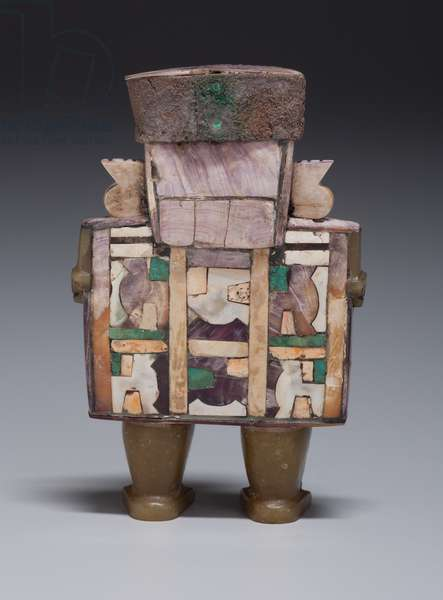 Standing Dignitary c.600-1000 (wood with shell & stone inlay & silver)