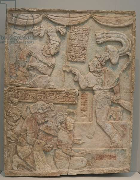 Presentation of Captives to a Maya Ruler, Late Classic Period, c.785 (limestone with traces of paint)