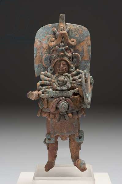 Standing ruler, Guatemala, Late Classic period, c.600–800 AD (ceramic with traces of paint)