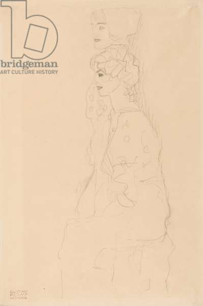 Two Girls in Profile, 1917 (pencil on simile Japan paper)