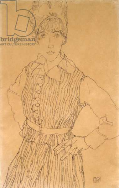 Portrait of the Artist's Wife, Edith, Standing, with Hands on Hips, 1915 (black crayon on wove paper)
