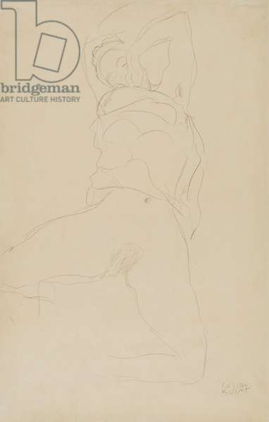 Reclining Woman with Raised Arms, 1917 (pencil on simile Japan paper)