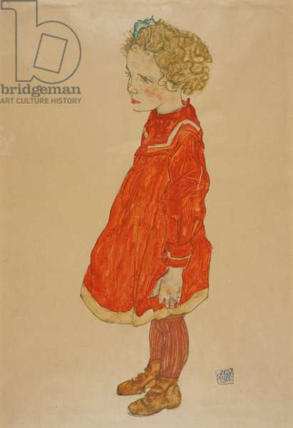 Little Girl with Blond Hair in Red Dress, 1916 (gouache and pencil on paper)