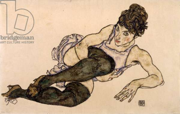 Reclining Woman with Green Stockings, 1917 (gouache and black crayon on paper)