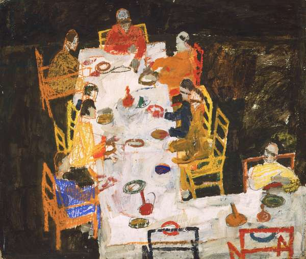 Sketch for a Group Portrait (Friends), 1918 (oil, gouache, crayon and pencil on cardboard)