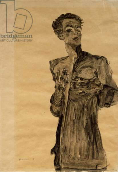 Self-Portrait in Street Clothes, Gesturing, 1910 (watercolor and pencil on brown paper)