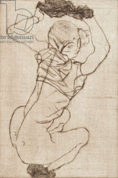 Squatting Woman, 1914 (drypoint in sepia with toned ground on German Etching paper)