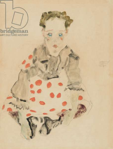 Girl in Polka-Dot Dress, 1911 (watercolor and pencil on paper)
