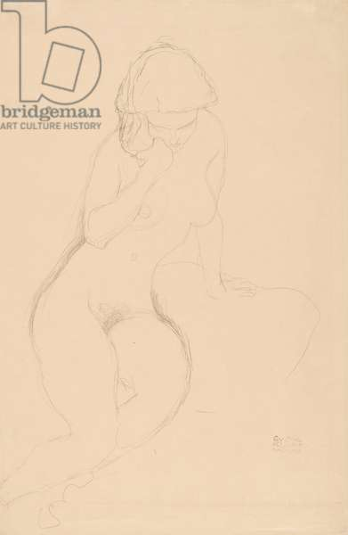 Seated Nude with Hand at Cheek, c.1913-14 (pencil on simile Japan paper)