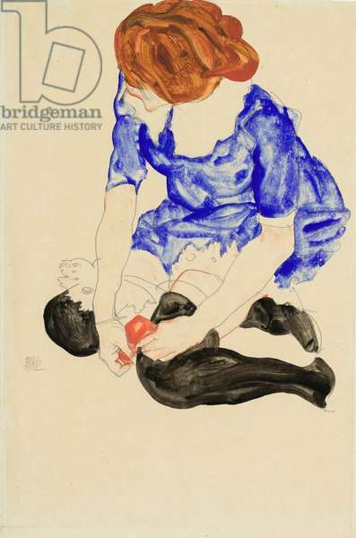 Woman in Blue Dress, Tying Her Garter, 1912 (gouache, watercolor and pencil on paper)