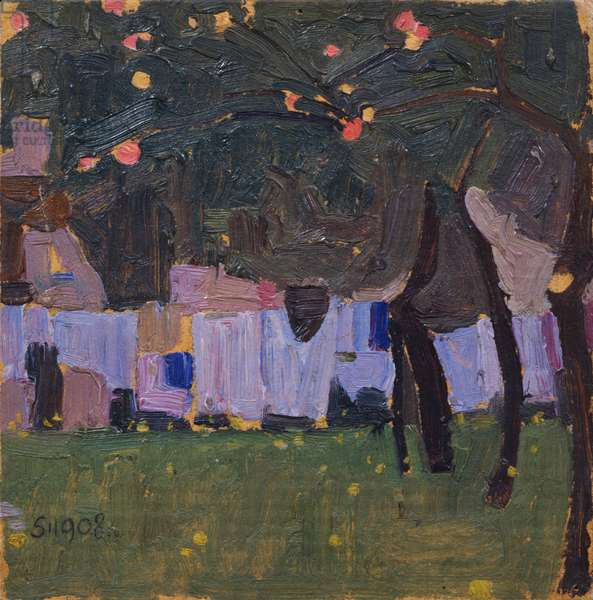 Drying Laundry, 1908 (oil on cardboard)