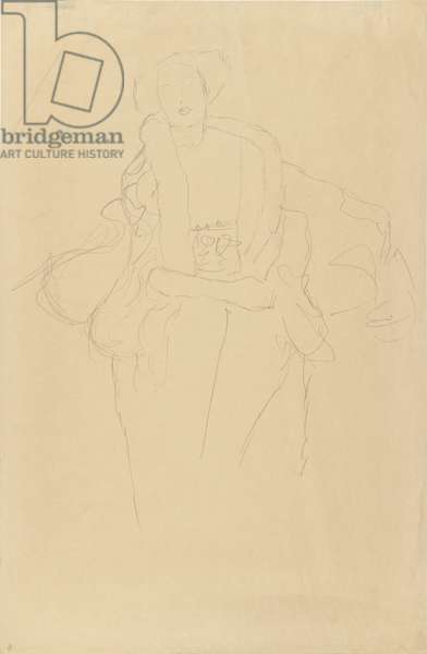 Seated Woman with Fur Collar (Amalie Zuckerkandl), 1917 (pencil on simile Japan paper)
