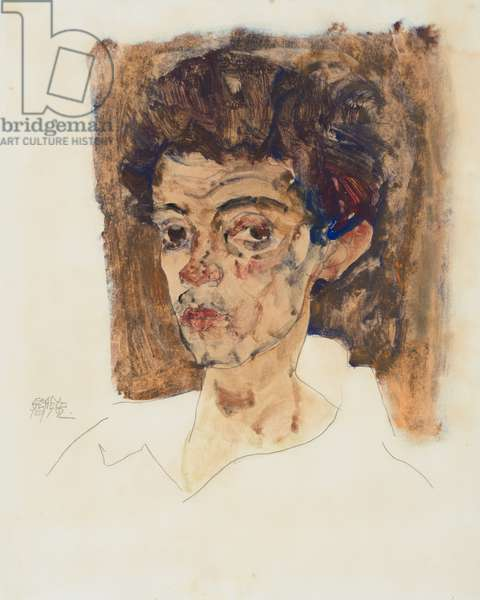 Self-Portrait with Brown Background, 1912 (gouache, watercolor and pencil on paper)