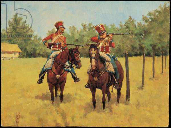 Troopers: 13th Hussars 1813, 1989 (oil on board)