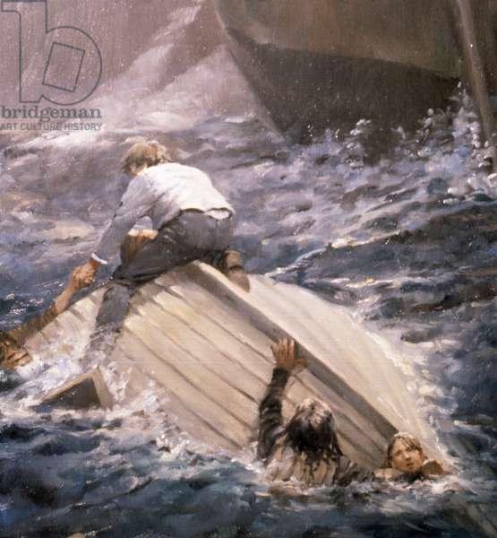 Capsized Boat, 1986 (oil on board)