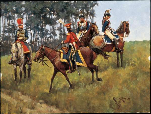 French Cavalry Officers 1813, 1991 (oil on board)