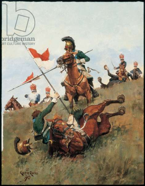 French 5th Chevau-Legers Lanciers and British 10th Hussars 1815, 1990 (oil on board)
