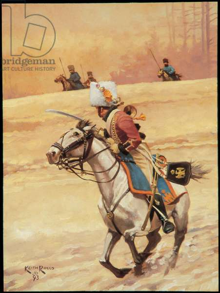 Trumpeter: Chasseurs a Cheval of the Imperial Guard 1814, 1993 (oil on board)