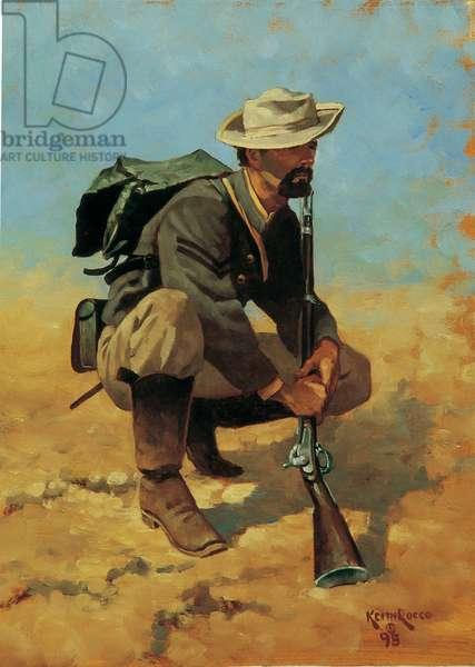 Study - Confederate Corporal Kneeling, 1995 (oil on board)