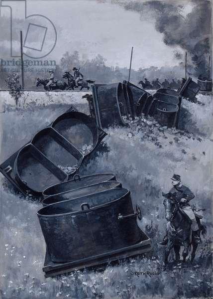 Coal Cars, 1988 (gouache on board)