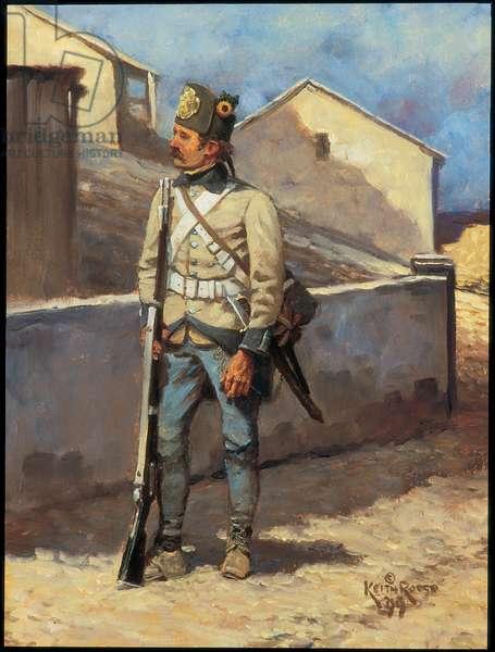 Hungarian Infantryman: Regiment Szatary, 1799, 1999 (oil on board)
